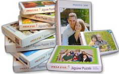 Create and order your own puzzle with your own photos, materials, and puzzle-piece size (6 pieces all the way up to 2,000)!  Fun and cute for gifts :)