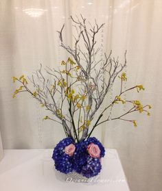 Blue, Pink, and Yellow Tall Manzanita Tree Centerpiece
