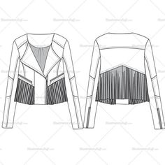 Woman's cropped fringe leather jacket fashion flat templates. This file includes CAD with front & back sketches, Leather swatch & 3 different pattern br