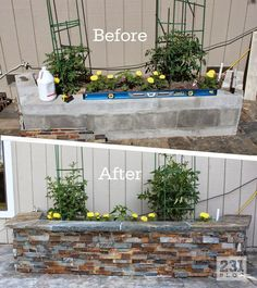 DIY Slate Ledger Stone Planter Boxes with a bench. Boxes built with cinder block and faced with stone, they only look | We Know How To Do It