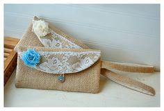burlap purse bag lace wedding wristlet clutch rustic by hoganfe, $21.50
