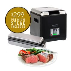 We've teamed up with Chicago Steak Company to bring you a SousVide Supreme Demi bundle that includes a variety of premium wet-aged steaks! A perfect summer gift for your new grad or Dad, too. $469