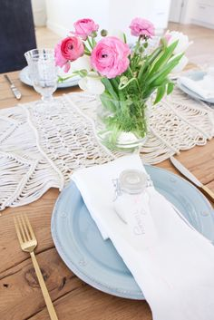 DIY Salt Scrub also used as a place card for this lovely Spring Table.