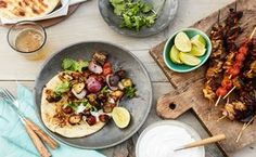 Indian-Spiced Chicken, Eggplant, and Tomato Skewers WAY better with some raita! Chicken Eggplant, Chicken Spices, Grilling Chicken, Thai Chicken, Bbq Grill, Skewer Recipes, Cooking Recipes, Healthy Recipes, Weeknight Recipes