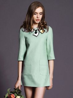 Light Green 3/4 Sleeve Woolen Dress