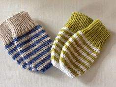 Items similar to Hand knitted Baby mittens.Striped Baby mittens without thumbs. on Etsy Hand knitted Baby mittens.Striped Baby mittens by emilyandevelyn, Always wanted to figure out how to knit, yet und. Crochet Baby Mittens, Knitted Mittens Pattern, Crochet Baby Blanket Beginner, Knitted Gloves, Baby Knitting Patterns, Knitting For Kids, Hand Knitting, Stitch Patterns, Layette