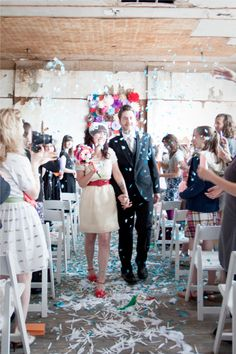 Hip and Funky Wedding. Fun and colorful alternative to rice, make your own confetti with paper - just use a paper cutter to slice them into small pieces, or better yet, collect all those whole punches from the whole puncher at work!