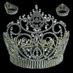 Miss American Beauty Pageant Queen Rhinestone Crown Gold FULL – CrownDesigners