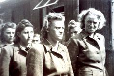 Bergen Belsen, Germany, Former female guards in the camp, April 1945.