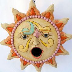 The Fat Finch Boutique for Bird Lovers Sun Moon Stars, Sun And Stars, Good Morning Sunshine, Sunday Morning, Sun Illustration, Sun Logo, Birdhouse Designs, Sun Art, Ceramic Birds