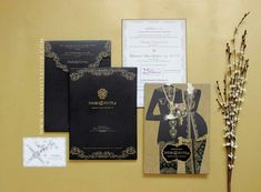 Vinas invitation. Emboss gold. Custom invitation. Wedding invitation. Indonesia wedding invitation. Simple elegant invitation. Engagement invitation. Traditional invitation. Simple. Modern. Elegant. Black theme. Emboss gold. Any question pls visit us at website www.vinasinvitation.vom. courtesy of Iness and Putra