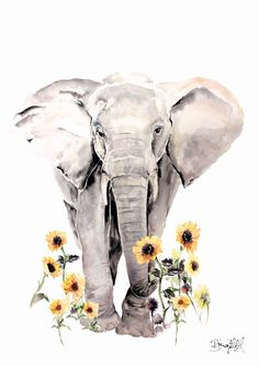 Sunflower Elephant  FINAL A4 Print by BrigitteMayArt on Etsy