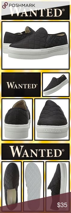 """Wanted 'Railway' Fashion Sneakers Wanted's Railway Fashion Sneakers have hit a fashionable high. These slip-on platforms are ultra trendy and totally rock! Quilted textile upper and double elastic inserts for stretch fit.  Round toe. Cushioned insole. 1 1/4"""" platform with Vulcanized synthetic sole. These chic shoes are truly for those who have a passion for fashion, and remain true to their name, leaving women of all ages wanting more. Wanted Shoes Sneakers"""