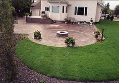exposed aggregate concrete patio with firepit | veranda steps and patio with fire pit 3500 sq ft of stained stamped ...