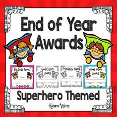 Superhero End of Year AwardsCelebrate the end of the year with these fun End of Year Awards. Students will be so proud to receive an award. There are 24 different End of Year awards so that everyone in the class can receive one. There is a color and a bla