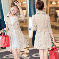 Double Breasted Lapel Lace Print Long Coat - Oh Yours Fashion - 1