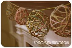 Make cute Easter garland: Starchy yarn Easter eggs - made like pinatas with yarn, small balloons, flour & water