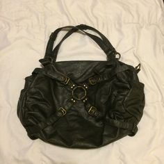 Deena & Ozzy Black Strappy Hobo Purse Strappy black hobo purse from Deena & Ozzy. Has dried ink stains on the inside, no damage to outside. Urban Outfitters Bags Hobos