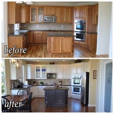 Before after of kitchen update. Painted cabinets, darker hardwood. Just need lights over island. Colors: Benjamin moor cloud white and midsummer night on island. Hardwood: hickory with medium brown stain (Bona)