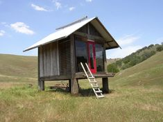 Victor Summers of Simple Shelter Texas creates simple, off-the-grid cabins in remote areas across the United States. A beautiful example of his cabins is this sleeping cabin made completely of reclaimed materials that sits on 40 remote acres in California.  Materials used to build the cabin were gathered up from previous builds.