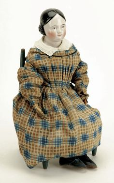 Covered Wagon China Doll with Paint Decorated Chai