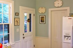 (Benjamin Moore Woodlawn Blue, and the white is Swiss Coffee OC-45, also Benj. Moore.)