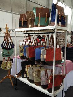 Perfect to hang purses on screw rod onto tall cabinet Diy Purse Display, Handbag Display, Craft Show Booths, Craft Booth Displays, Display Ideas, Booth Ideas, Stand Feria, Market Displays, Craft Fairs