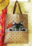 Мобильный LiveInternet Хозяйственная сумка с котенком. Схема вышивки   Марриэтта - Вдохновлялочка Марриэтты  