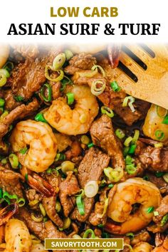 Learn how to make this easy recipe for surf and turf for two. It is essentially a steak and shrimp (prawns) stir fry dinner with an Asian sauce. I serve this with cauliflower rice for a healthy, low carb, keto friendly, and gluten free meal. You can replace the meat with other seafood like lobster, scallops, or crab.