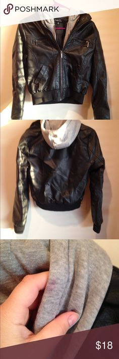 Faux Leather Jacket Adorable black faux leather jacket, perfect to complete any edgy outfit, a night on the town, or just to grab and go! Has tiny pink stain on good, not noticeable. Would probably come out with stain remover, I just never tried. Brand listed for views only. Forever 21 Jackets & Coats