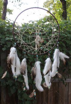 Chocolate & Turquoise Dreamcatcher, Native American, Handmade (Large)