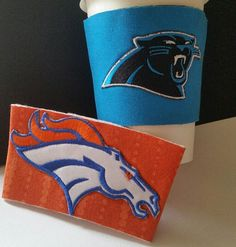 Denver Broncos cozy or Carolina Panthers cozy for travel mugs cups or athletic water bottles NFL team fan gear football Free Ship in US gift