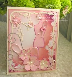 By stamping with bibiana; pink for october for Breast cancer awareness month. card using memory Box dress form die and blooming frame stencil, posted at the French blog, Un brin de creativite as well. check details at my  blog