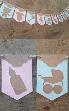 Elegant bunting for a baby shower or bedroom of a new born. This is a row of 10 Individual pennants in alternating pink and blue with rustic brown overlay and stung together with twine. Silhouettes show a variety of different baby items. A very beautiful decoration for a christening or baby shower. #babyshower #bunting #nursery #ad