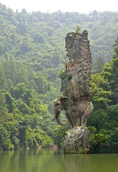 Elephant carved from rock - India