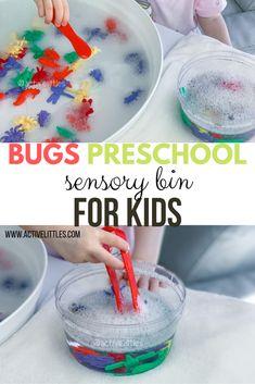 Bugs Preschool Sensory Bin - Active Littles Insect Activities, Sensory Activities Toddlers, Sensory Bins, Sensory Play, April Preschool, Preschool Crafts, Bug Crafts, Kindergarten Science, Lesson Plans For Toddlers