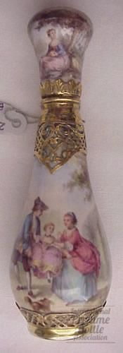 Victorian perfume bottle, circa 1880. Limoge enamel and silver