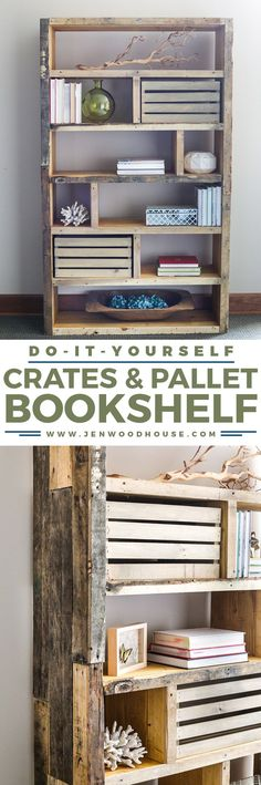 Build this beautiful and rustic bookshelf with reclaimed pallet wood and crates. Free building plans by Jen Woodhouse diy beginner diy pallet diy projects diy rustic diy woodworking Diy Pallet Projects, Woodworking Projects Diy, Home Projects, Pallet Ideas, Pallet Furniture, Furniture Projects, Rustic Furniture, Furniture Redo, Modern Furniture