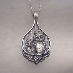 Perched Owls Pendant Sterling Silver #AntiqueJewelry