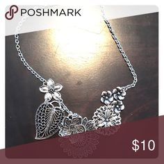 Silver premiere statement necklace Sterling silver statement necklace with flowers Premier Designs Jewelry Necklaces