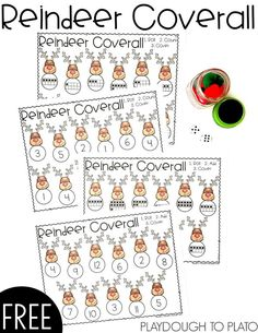 This Reindeer Coverall Game is a fun and festive way to help students identify numbers, work on counting and fine motor skills with preschool and kindergarten kids. A fun seasonal math game for partner work and for use at a math station. Christmas Math, Christmas Activities For Kids, Preschool Christmas, Winter Activities, Christmas Themes, Christmas Crafts, Kindergarten Math Games, Math Activities, Preschool Activities