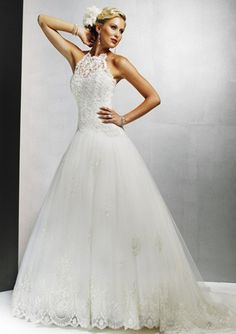 A-Line/Princess Halter Chapel Train Satin Tulle Wedding Dresses with Lace Beadwork