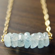 Aquamarine Nugget Gold Necklace.  Celebrate March's Birthstone.