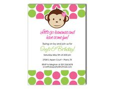 Mod Monkey Invitations. Great for Birthday or Baby Shower!