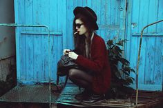 Thrift Store Hat, Dr. Martens Boots, Ray Ban Sunglasses, Sweater