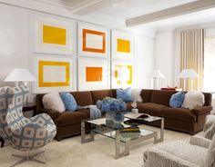 """I like the simple framed """"art"""" above the sectional"""