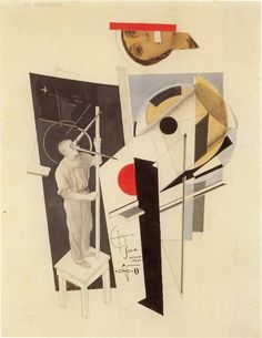 Tatlin at Work, El lissitzky. Great combination of abstract forms and recognizable objects. Both scientific / structural as well as strangely attractive (the head). Collages, Collage Art, Photomontage, Bauhaus, Russian Constructivism, Avantgarde, Ex Machina, Art Database, Art Moderne