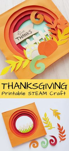 A fun to create Thanksgiving art project! Everyone can love this printable STEAM activity for the month of November. Art projects for elementary kids at Thanksgiving. Try this easy 3D paper craft activity for Thanksgiving this year! Make your own Thanksgiving papercraft in 3D for an unique art project for kids.