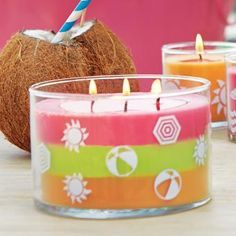 Partylite Beach Fun Layered 3-Wick (Beach Baby-pineapple&coconut, Skinny Sipping-grapefruit&green apple, and Poolside Passion-mango&rum)