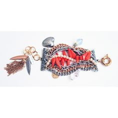 Silver cuff bracelet with crystals, pearls, charms and natural corals... ❤ liked on Polyvore featuring jewelry, bracelets, bangle cuff bracelet, silver cuff bangle bracelet, silver cuff bracelet, pearl bangles and charm bangles